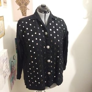 💥Black button up jacket with mirror pieces